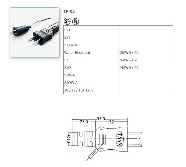 TP-05 UL/CSA Standard Power Supply Cords